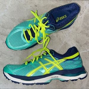Asics Blue and Yellow Gel Cumulus 17 Running Shoes